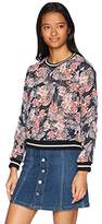Self Esteem Women's Floral Woven Sweatshirt With Athletic Bands