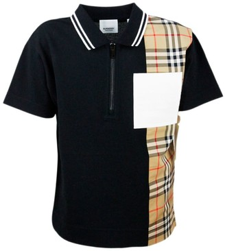 Burberry Short Sleeve Polo Shirt With Zip And Side Check Pattern
