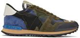 Valentino Garavani Valentino Green and Blue Camo Rockrunner Sneakers