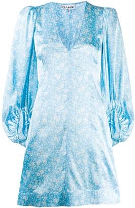 Ganni floral-print V-neck dress