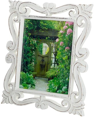 """Willow Row Rectangular Hand-Carved Antique Picture Frame with Whitewash Wood Finish - 12""""x 14"""