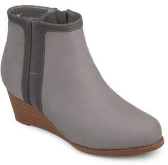Brinley Co. Women's Two-tone Faux Suede Wedge Booties