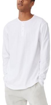 Cotton On Men's Longline Scoop Henley Long Sleeve T-shirt