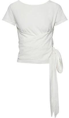Iris & Ink Darian Wrap-effect Cotton-jersey T-shirt