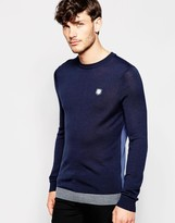Antony Morato Knitted Crew Neck Jumper With Contrast Hem & Check Elbow Patches - Blue