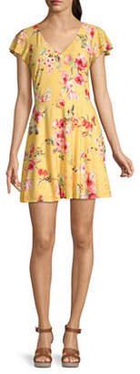 Byer California-Juniors Short Sleeve Floral Fit & Flare Dress