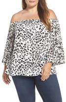 Vince Camuto Plus Size Women's Animal Whispers Bell Sleeve Blouse