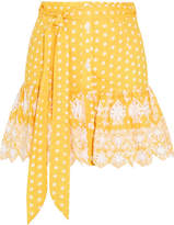Miguelina Emy Broderie Anglaise-trimmed Polka-dot Cotton Mini Skirt