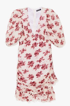 Nasty Gal Womens Bloom for One More Floral Mini Dress - Nude