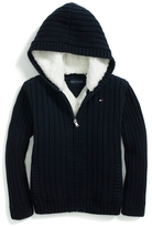 Tommy Hilfiger Fur-Lined Hooded Cardigan