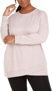 Ideology Plus Size Crossover-Hem Sweatshirt, Created for Macy's