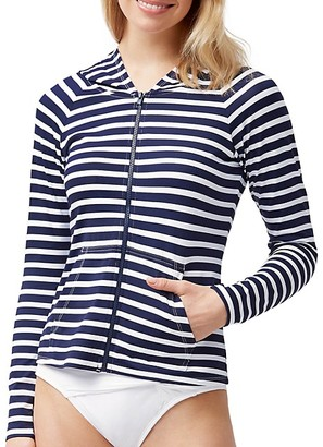 Tommy Bahama Striped Coverup Hooded Jacket