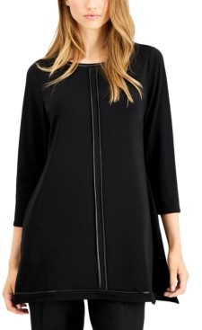 Alfani Piped-Detail Tunic Top, Created for Macy's