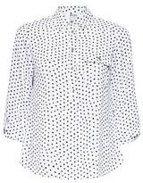Dorothy Perkins Womens Petite Ivory Spot Print Roll Sleeve Shirt, Ivory