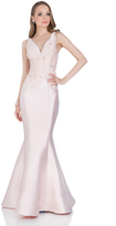 Terani Couture Elegant Beaded V-neck Polyester Fit and Flare Dress 1611E0182A
