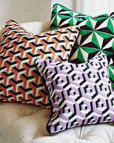 Jonathan Adler Orange 3D Bargello Maze Throw Pillow