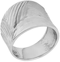 Obssr17rh Argento Italia Rhodium Plated Sterling Silver Diamond-cut Finish Bold Ring
