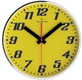 "Oliver Hemming Wall Clock with Bold Number Dial - Yellow (12"")"