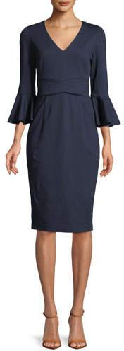 Trina Turk Begonia Ponte Trapunto-Stitch Bell-Sleeve Dress