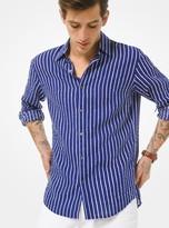 Michael Kors Striped Seersucker Linen Shirt