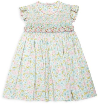 Luli And Me Baby's & Little Girl's Rose-Print Smock A-Line Dress