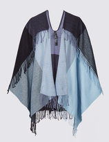 Marks and Spencer Double Fringe Checked Wrap