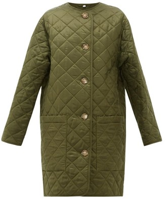Burberry Bardsey Diamond-quilted Collarless Coat - Womens - Khaki