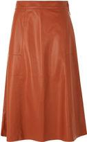 Whistles Leather A-line Midi Skirt