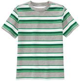 Gymboree Green & Gray Stripe Jersey Short-Sleeve Tee - Boys