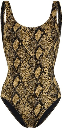 Solid & Striped Anne Marie snake print swimsuit
