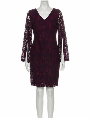 Donna Karan Lace Pattern Knee-Length Dress Purple
