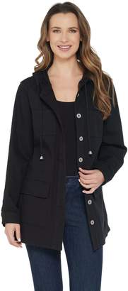 Denim & Co. Stretch Twill Button Front Long Sleeve Hooded Jacket