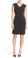 Ellen Tracy Side Pleat V-Neck Sheath Dress
