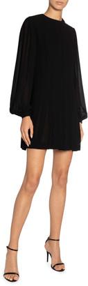 Saint Laurent High-Neck Pleated Mini Dress