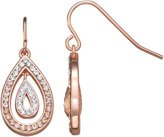 clear Chrystina Rose Gold Over Fine Silver Plate Peach And Crystal Teardrop Earrings