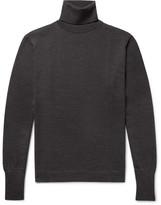 Officine Generale Slim-fit Merino Wool Rollneck Sweater - Charcoal