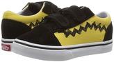 Vans Kids Old Skool V x Peanuts Charlie Brown/Black) Kid's Shoes