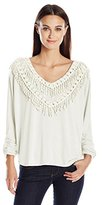NY Collection Women's 3/4 Dolman Sleeve with Ruched Hem Shirt Tail Hem with V Neck Crochet Trim