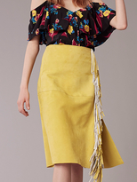 Diane von Furstenberg Side Slit Fringe Skirt