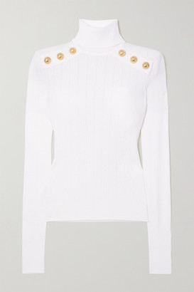 Balmain Button-embellished Ribbed-knit Turtleneck Sweater - White