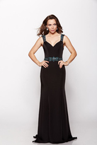 Milano Formals - Beaded Wide Strap Black Evening Gown E2065