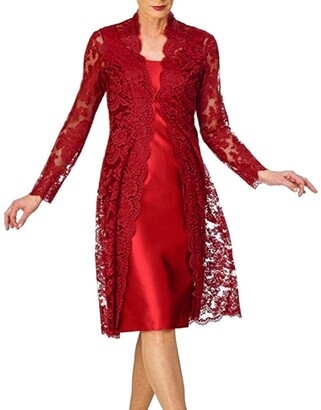 Moent Dress Moent Women's Fashion Two Pieces Charming Solid Color Mother of The Bride Lace DressesDressing Gown Covers Long UK Clearance Party Elegant Wedding Plus Size Red