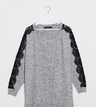 Vero Moda Curve lace trim cardigan in grey