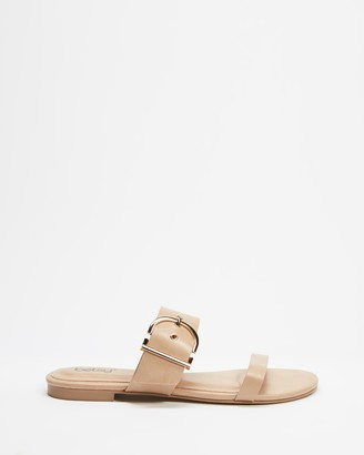 Betsy - Women's Neutrals Flat Sandals - Two Strap Buckle Slides - Size 38 at The Iconic