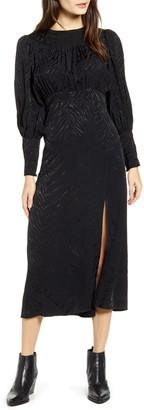 Topshop Fallen Long Sleeve Jacquard Midi Dress
