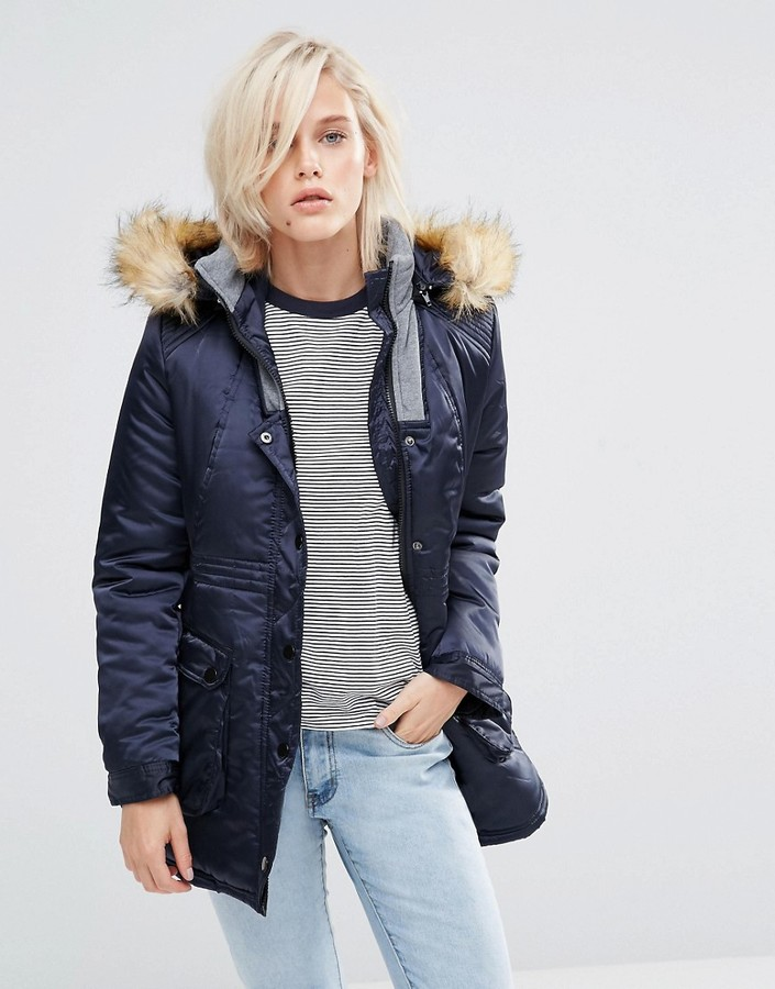Girls On Film Parka With Faux Fur Hood