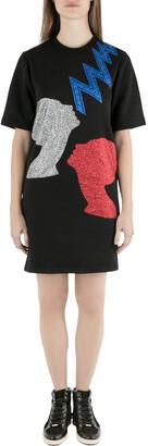 Christopher Kane Black Glitter Heads and Lightning Print Short Sleeve Sweatshirt Dress XS