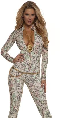 Forplay Women's Money Print Zipfront Catsuit