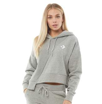 Converse Womens Star Chevron Sweater Knit Cropped Hoodie Grey Heather