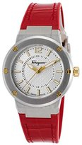 Salvatore Ferragamo Women's 'F-80' Swiss Quartz Stainless Steel and Leather Casual Watch, Color:Red (Model: FIG140016)